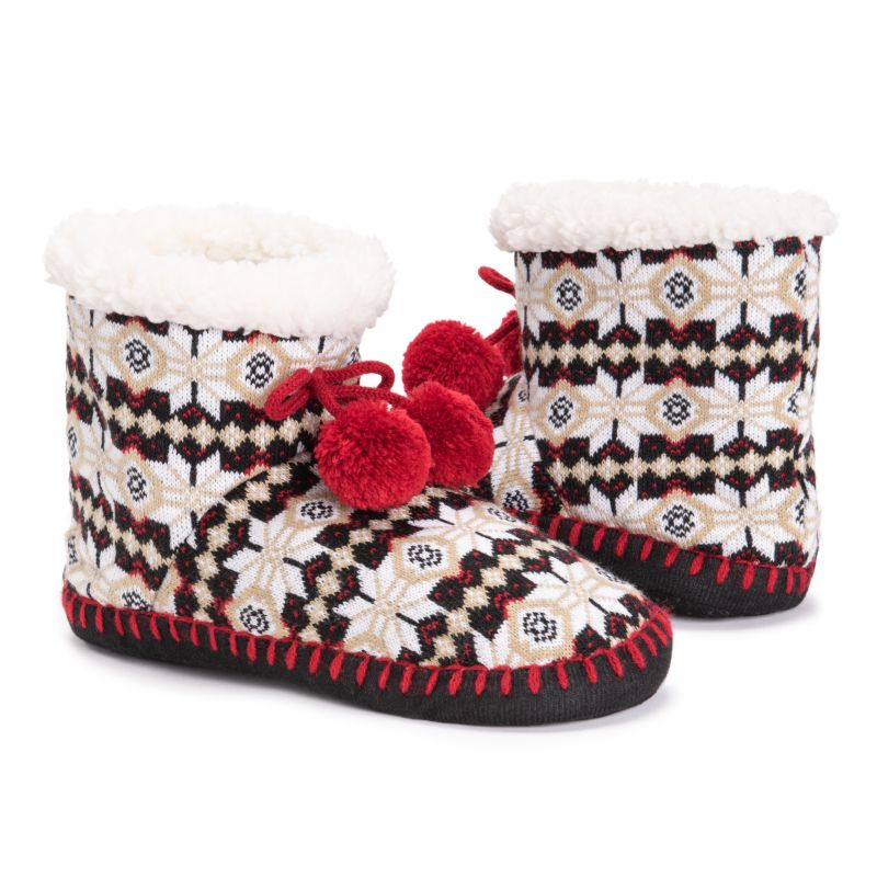 Women's MUK LUKS Bootie Slippers-Red/White-S/M (5-7)-Daily Steals