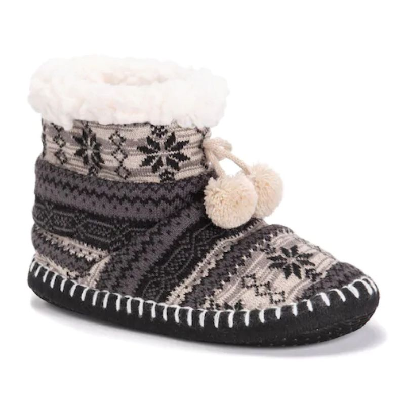 Women's MUK LUKS Bootie Slippers-Grey-S/M (5-7)-Daily Steals