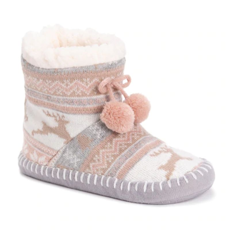 Women's MUK LUKS Bootie Slippers-Pink-S/M (5-7)-Daily Steals