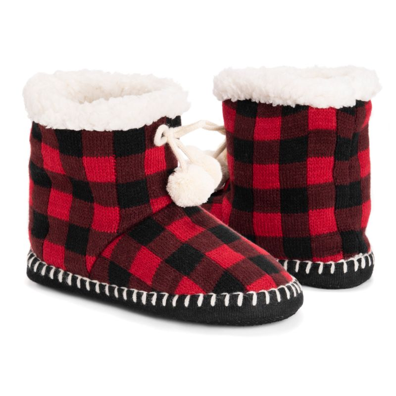 Women's MUK LUKS Bootie Slippers-Red Checkered-S/M (5-7)-Daily Steals