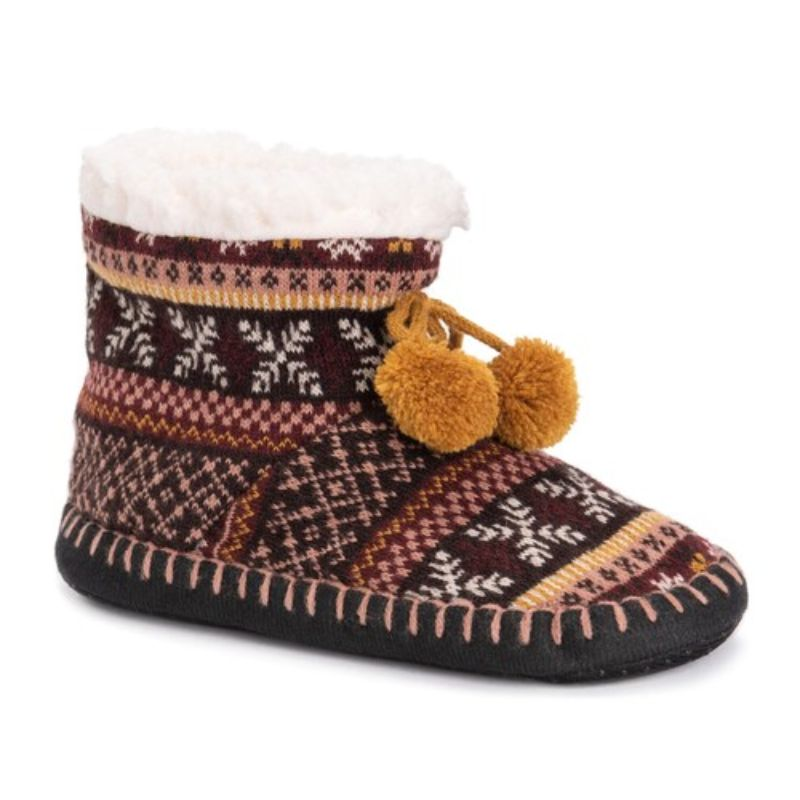 Women's MUK LUKS Bootie Slippers-Purple-S/M (5-7)-Daily Steals
