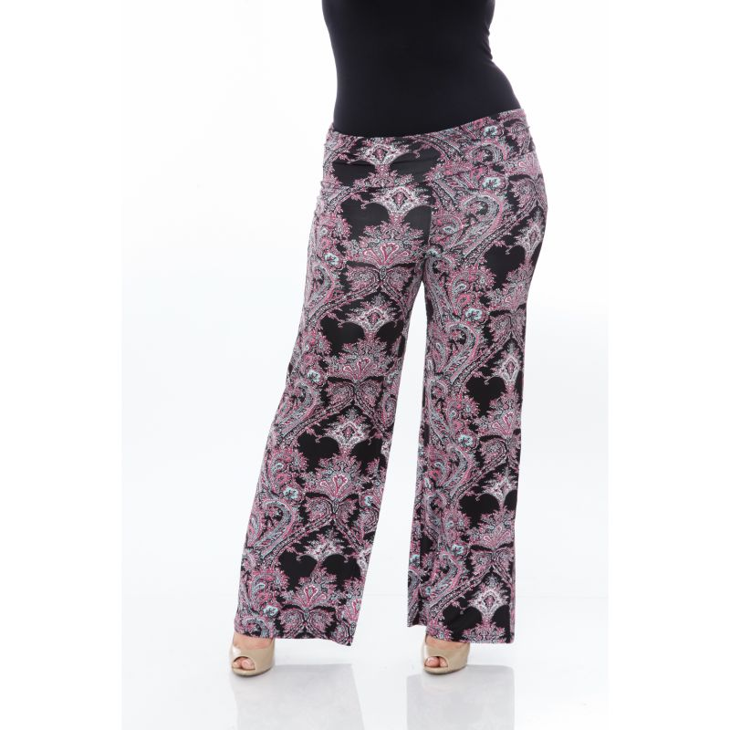 Women's Printed Palazzo Pants - Black & Fuchsia-2XL-Daily Steals