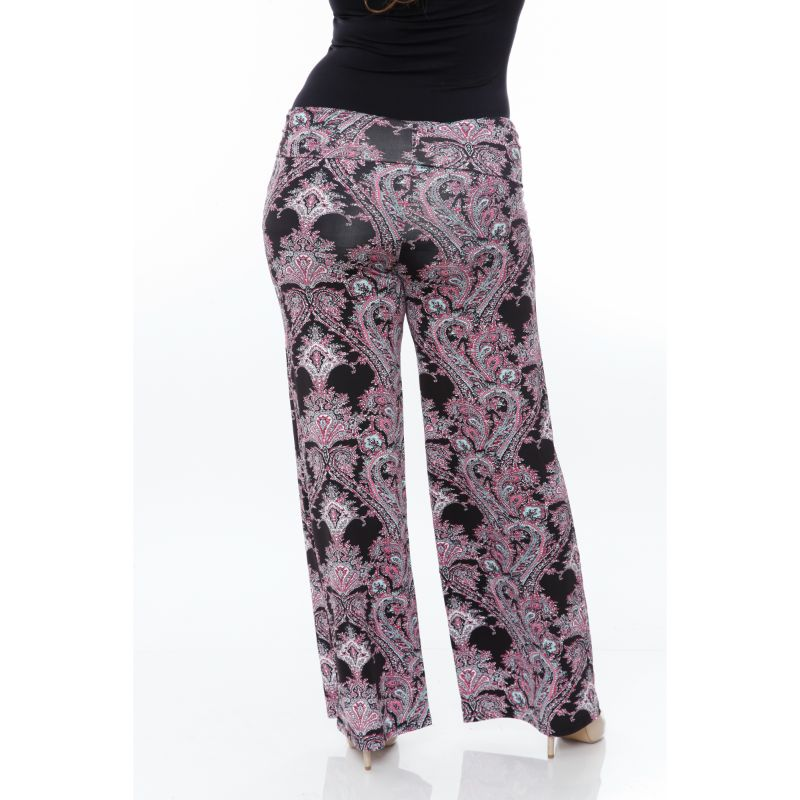 Women's Printed Palazzo Pants - Black & Fuchsia-Daily Steals