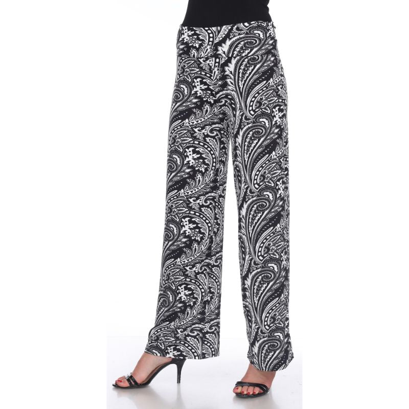 Women's Printed Palazzo Pants - Black & White Contrasting Paisley-S-Daily Steals