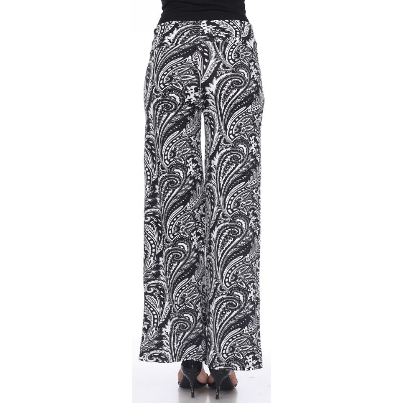 Women's Printed Palazzo Pants - Black & White Contrasting Paisley-Daily Steals
