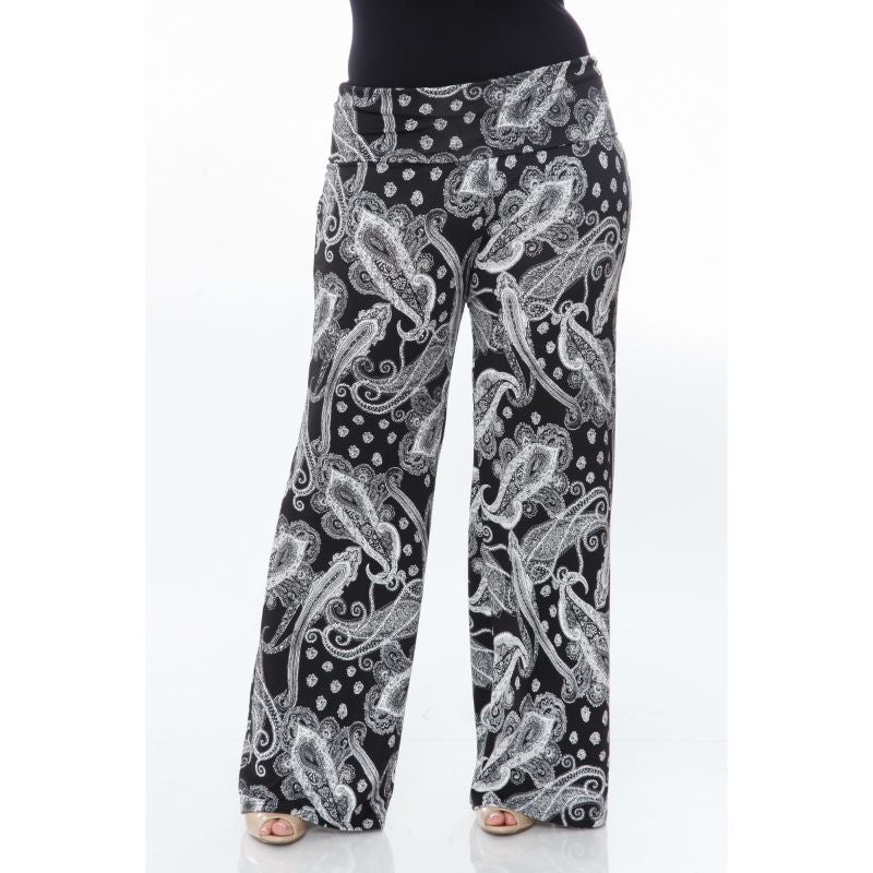 Women's Printed Palazzo Pants - Black on White-XL-Daily Steals