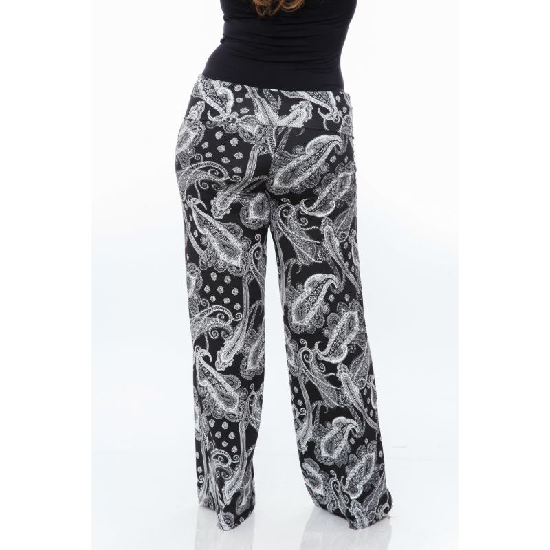 Women's Printed Palazzo Pants - Black on White-Daily Steals