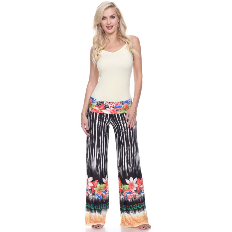 Women's Printed Palazzo Pants - Black/White Flowers-Daily Steals