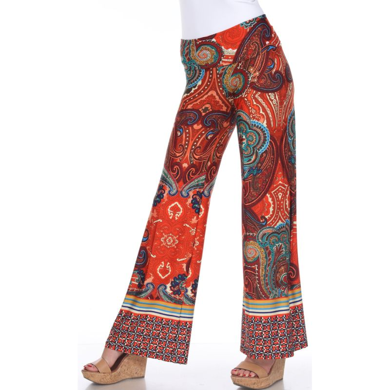 Women's Printed Palazzo Pants - Brown/Orange-S-Daily Steals