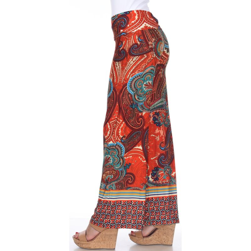 Women's Printed Palazzo Pants - Brown/Orange-Daily Steals