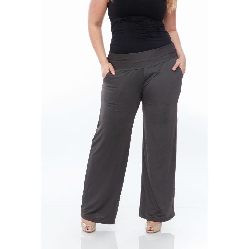 Women's Printed Palazzo Pants - Charcoal-Daily Steals