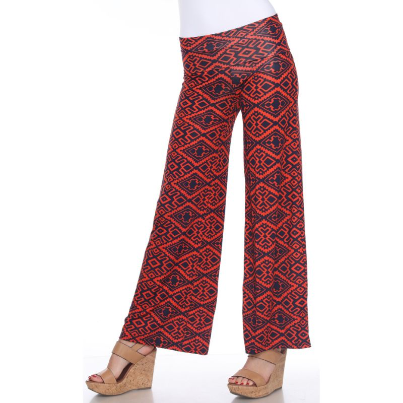 Women's Printed Palazzo Pants - Citrus Orange & Business Navy-S-Daily Steals