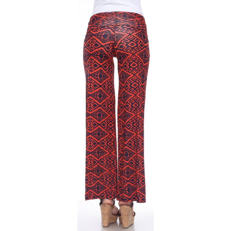 Women's Printed Palazzo Pants - Citrus Orange & Business Navy-Daily Steals