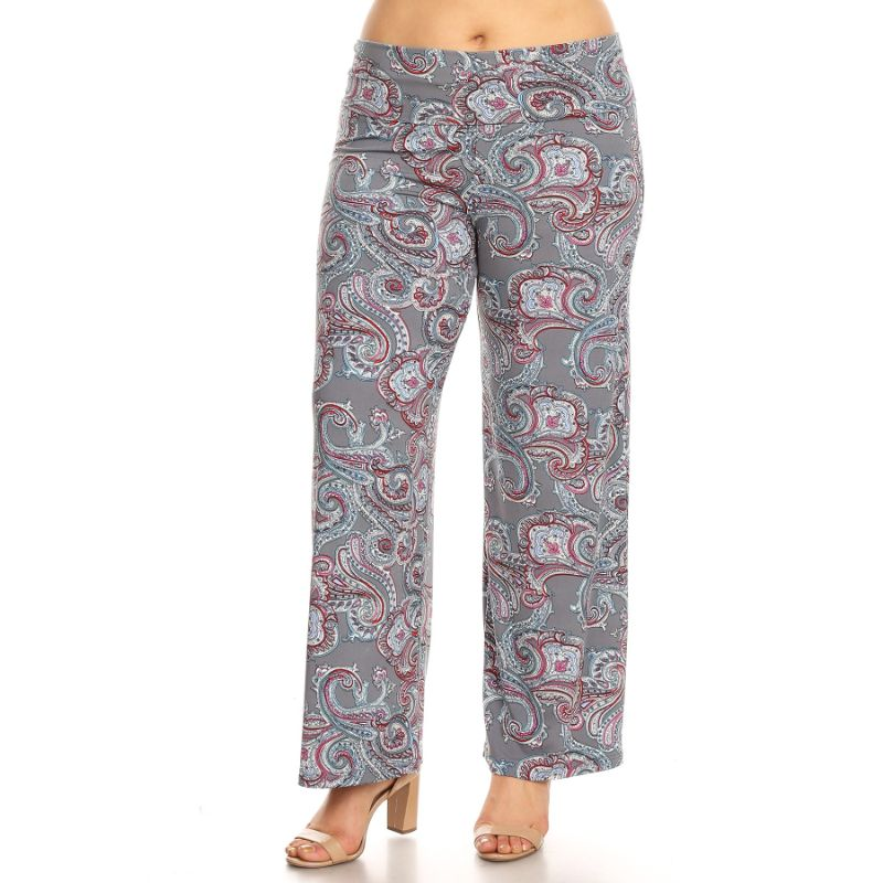 Women's Printed Palazzo Pants - Classic Charcoal Paisley-XL-Daily Steals
