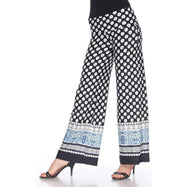 Women's Printed Palazzo Pants - Contrasting Black & White-S-Daily Steals