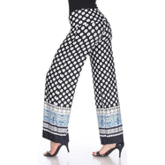 Women's Printed Palazzo Pants - Contrasting Black & White-Daily Steals