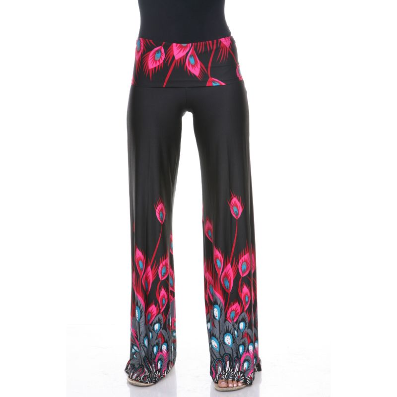 Women's Printed Palazzo Pants - Fuchsia Pink Peacock-S-Daily Steals
