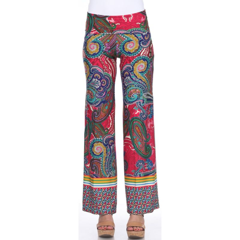 Women's Printed Palazzo Pants - Fuchsia/Green-S-Daily Steals