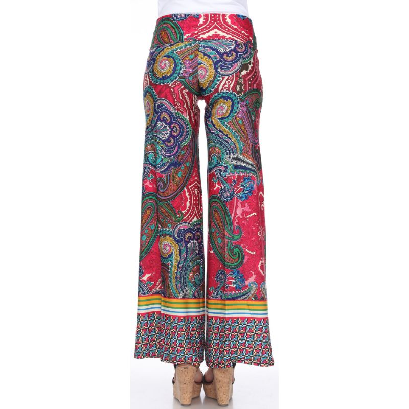 Women's Printed Palazzo Pants - Fuchsia/Green-Daily Steals