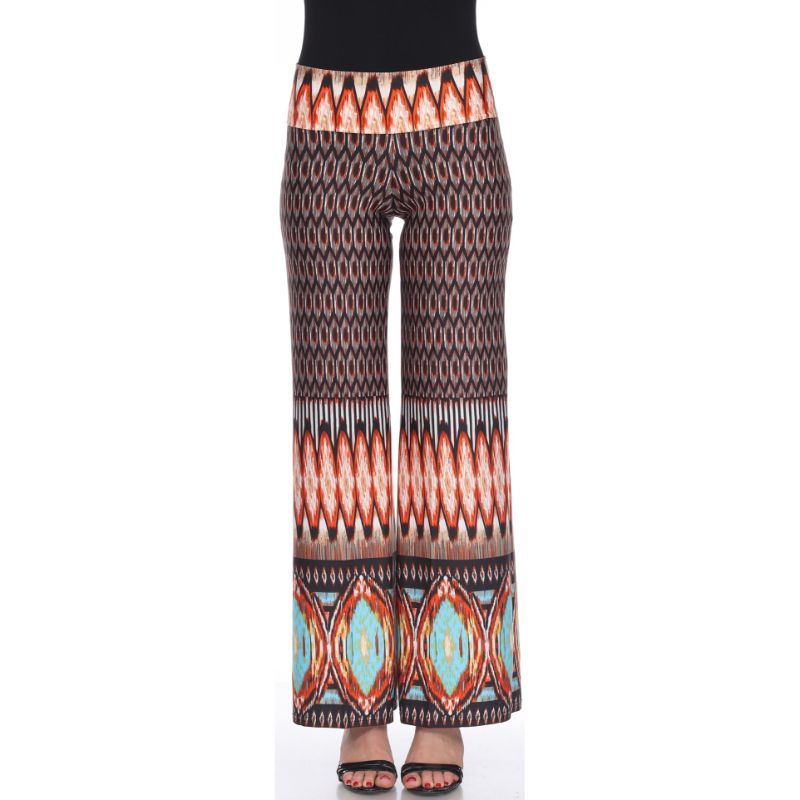 Women's Printed Palazzo Pants - Grain Brown & Orange-S-Daily Steals
