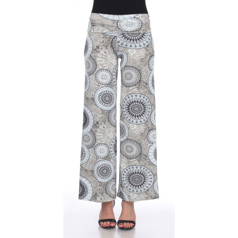 Women's Printed Palazzo Pants - Grey Geo for Her-XL-Daily Steals