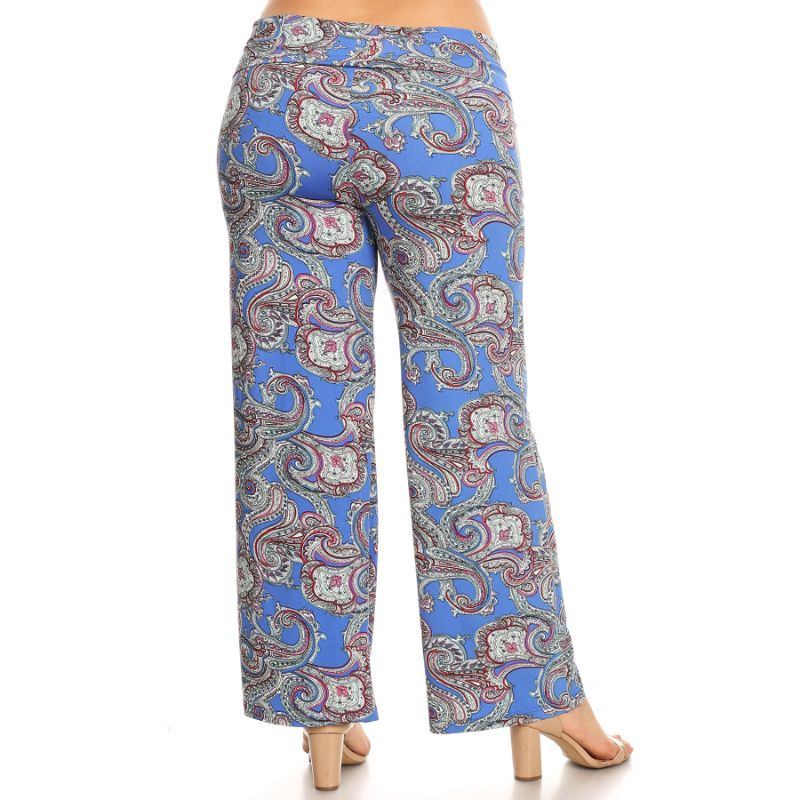 Women's Printed Palazzo Pants - Her Royal Blue-Daily Steals
