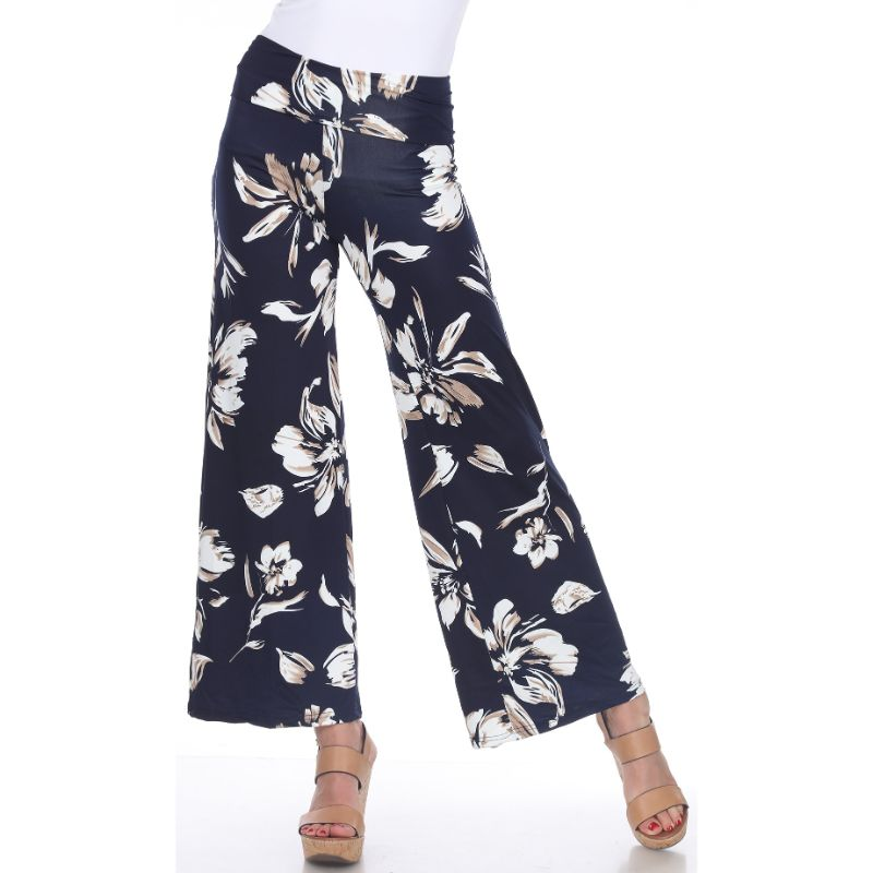Women's Printed Palazzo Pants - Icy Navy-S-Daily Steals