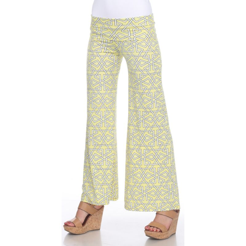 Women's Printed Palazzo Pants - Lemon Yellow-S-Daily Steals