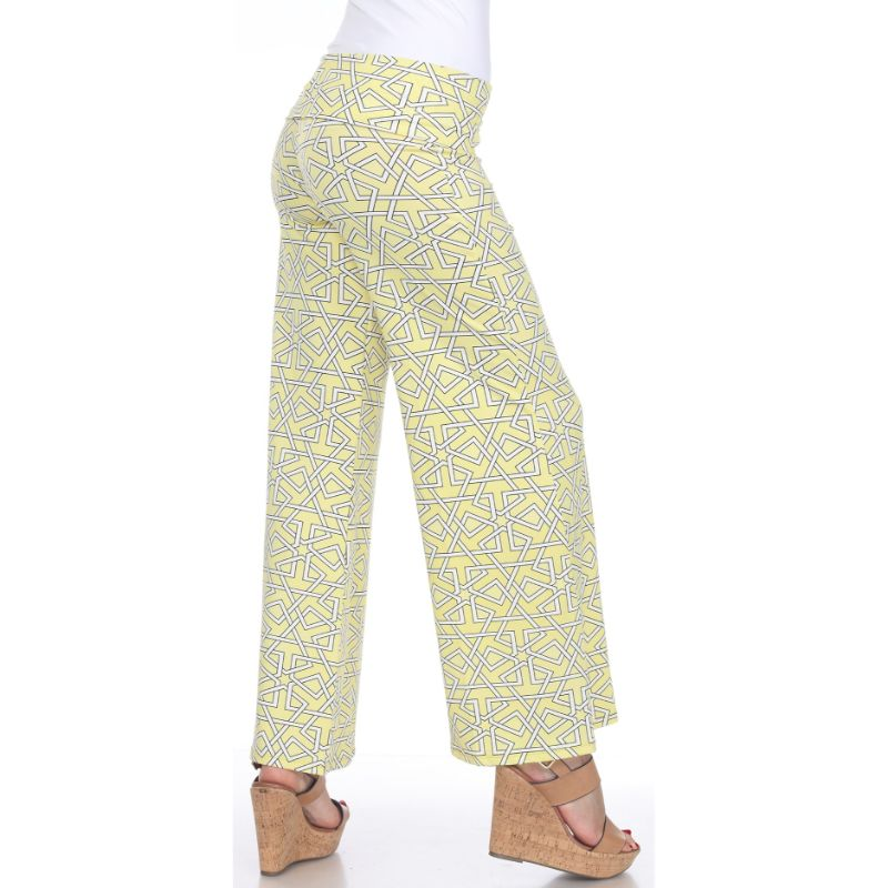Women's Printed Palazzo Pants - Lemon Yellow-Daily Steals