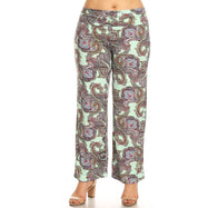 Women's Printed Palazzo Pants - Minty Paisley-XL-Daily Steals