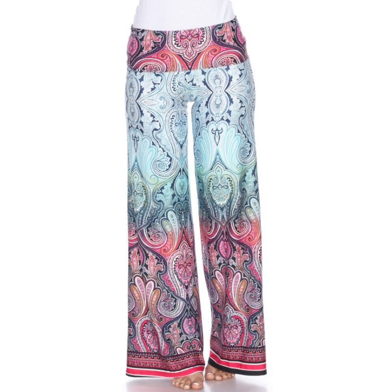 Women's Printed Palazzo Pants - Morning Aqua-S-Daily Steals