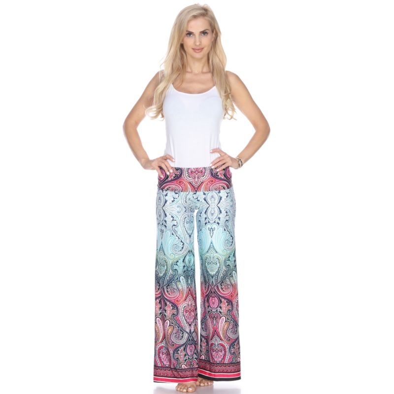 Women's Printed Palazzo Pants - Morning Aqua-Daily Steals