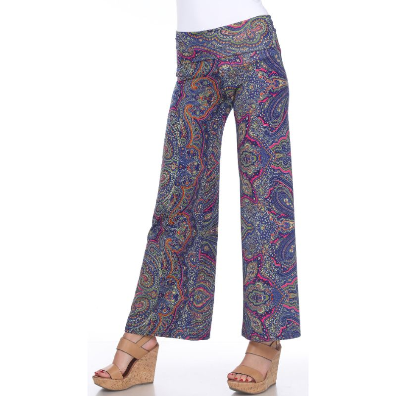 Women's Printed Palazzo Pants - Navy Blue & Pretty Pink Paisley-S-Daily Steals