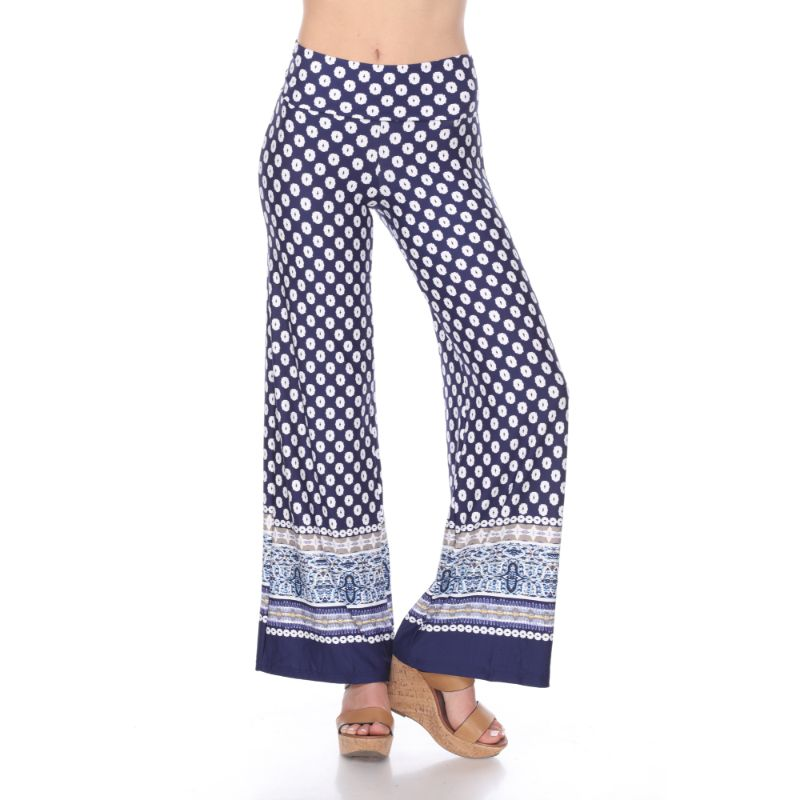 Women's Printed Palazzo Pants - Oceanic Navy & White-S-Daily Steals