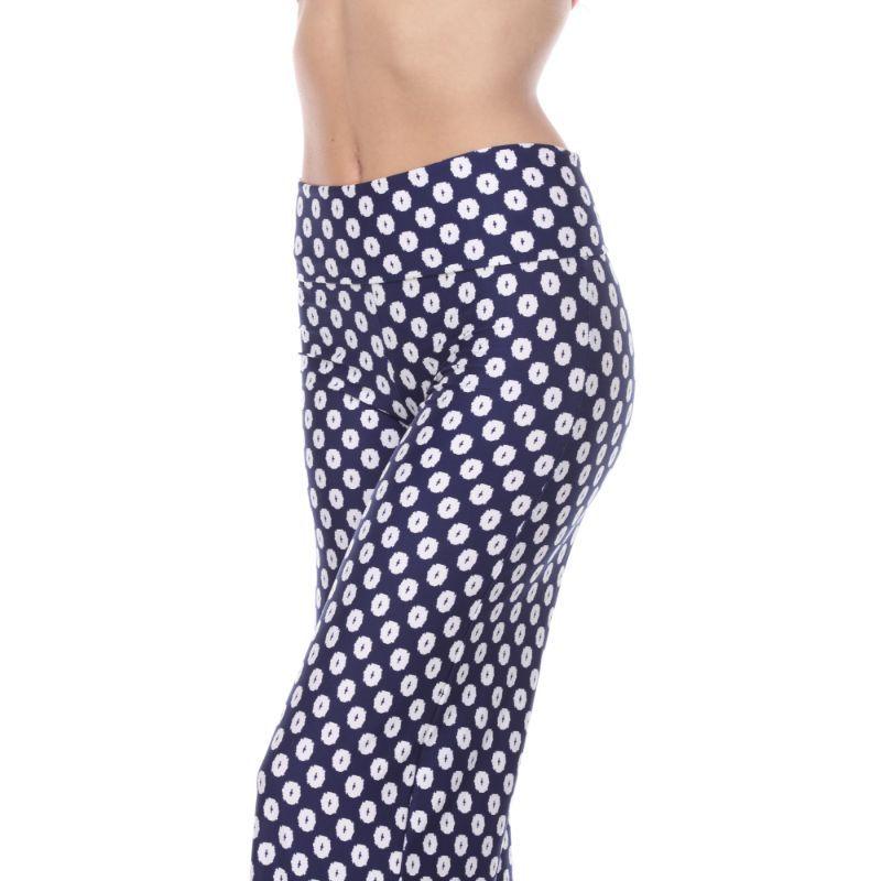 Women's Printed Palazzo Pants - Oceanic Navy & White-Daily Steals