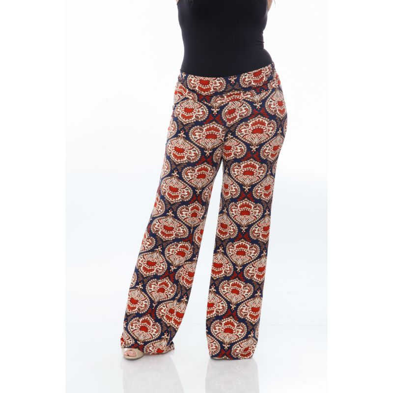 Women's Printed Palazzo Pants - Orange & Navy-Daily Steals