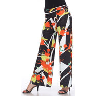 Women's Printed Palazzo Pants - Orange & Yellow Citrus-S-Daily Steals