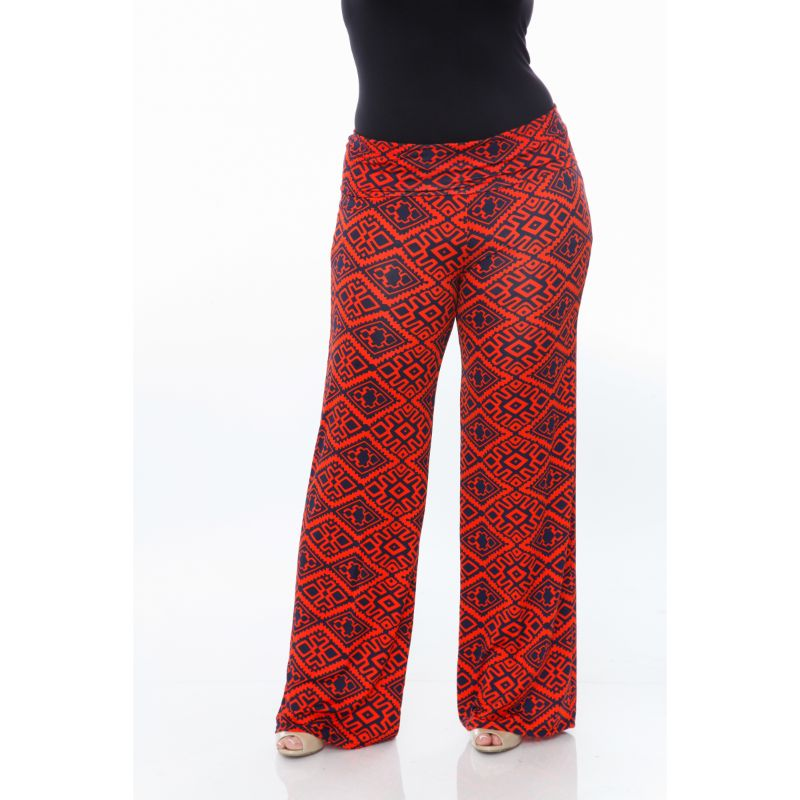Women's Printed Palazzo Pants - Orange on Navy-2XL-Daily Steals