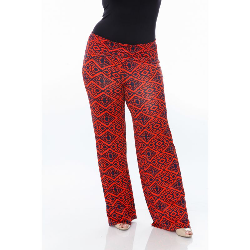 Women's Printed Palazzo Pants - Orange on Navy-Daily Steals