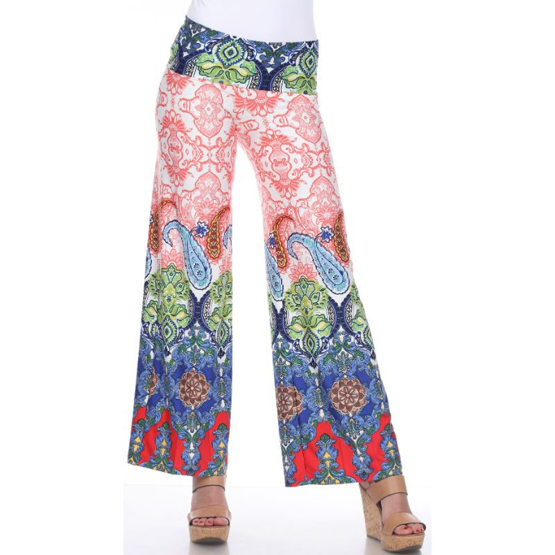 Women's Printed Palazzo Pants - Red/Green/Royal-S-Daily Steals