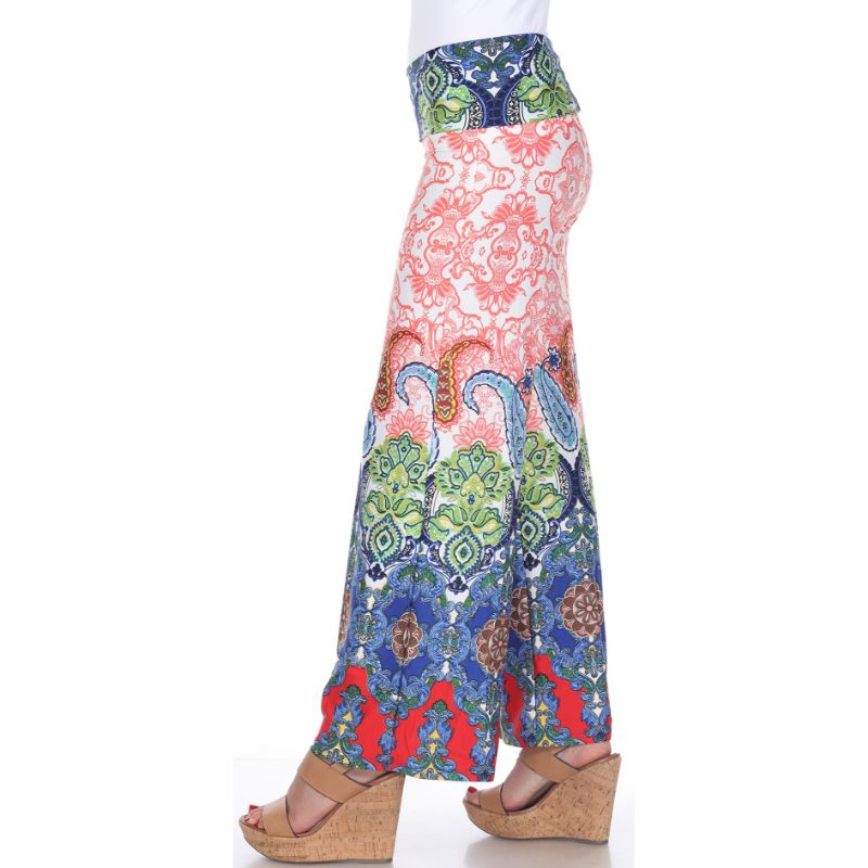 Women's Printed Palazzo Pants - Red/Green/Royal-Daily Steals
