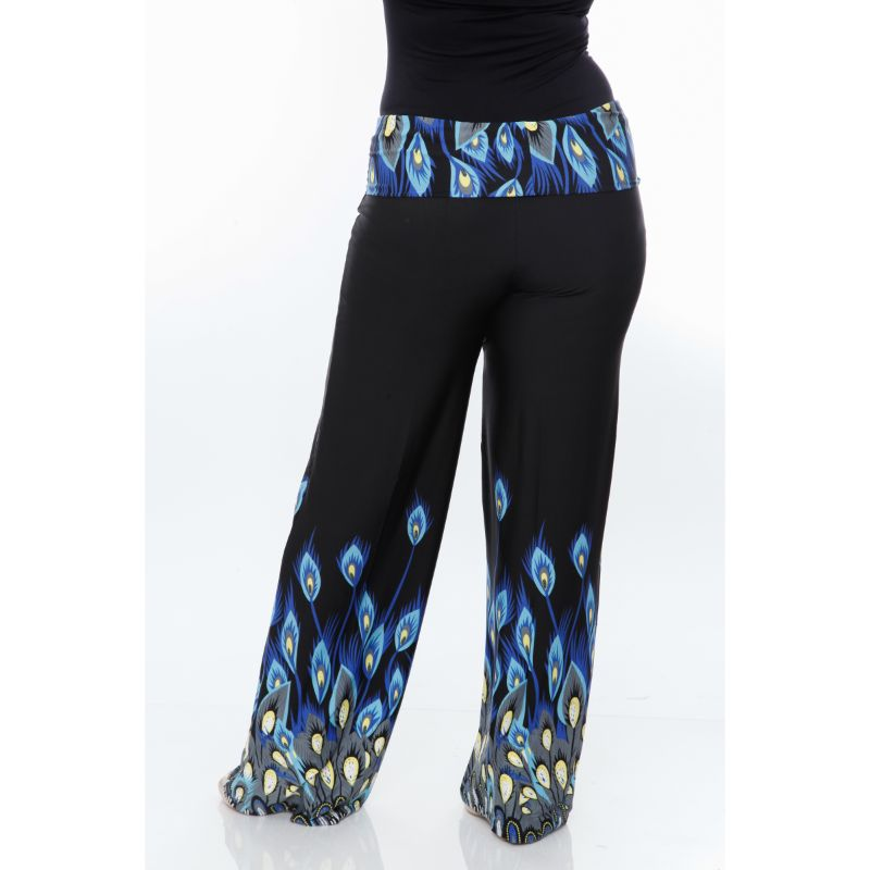 Women's Printed Palazzo Pants - Royal Peacock-Daily Steals