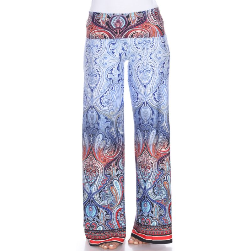 Women's Printed Palazzo Pants - Sleepy Blue-M-Daily Steals