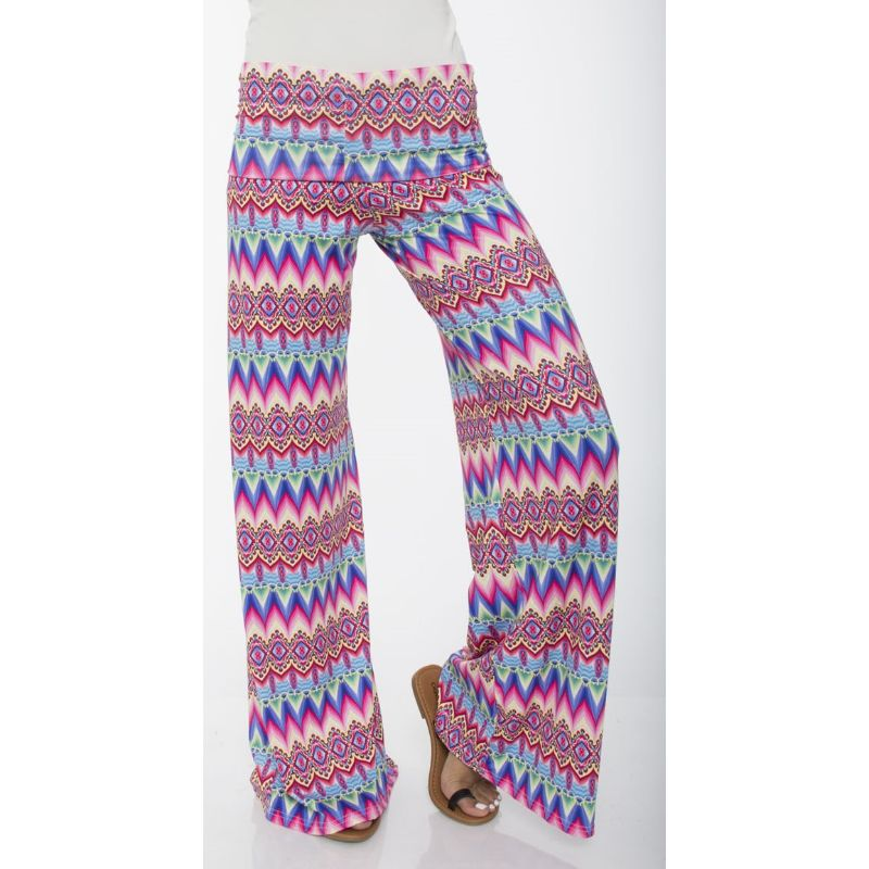 Women's Printed Palazzo Pants - Soft Pink & Fuchsia-S-Daily Steals