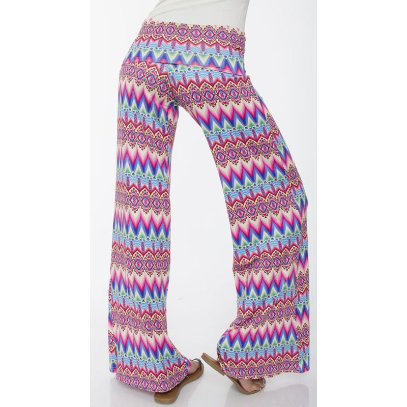 Women's Printed Palazzo Pants - Soft Pink & Fuchsia-Daily Steals