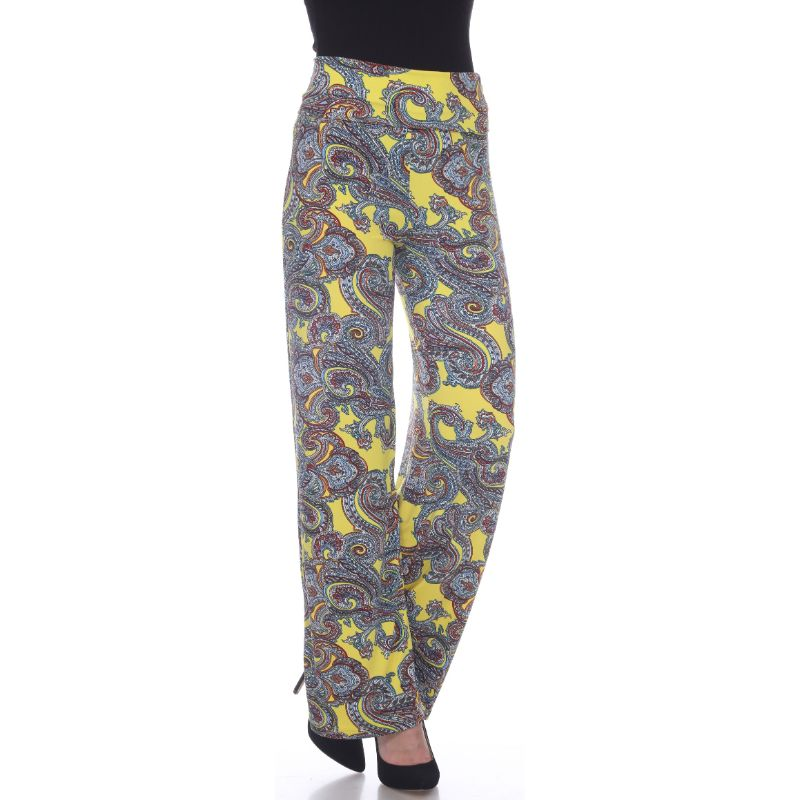 Women's Printed Palazzo Pants - Sunshine Yellow Paisley-S-Daily Steals