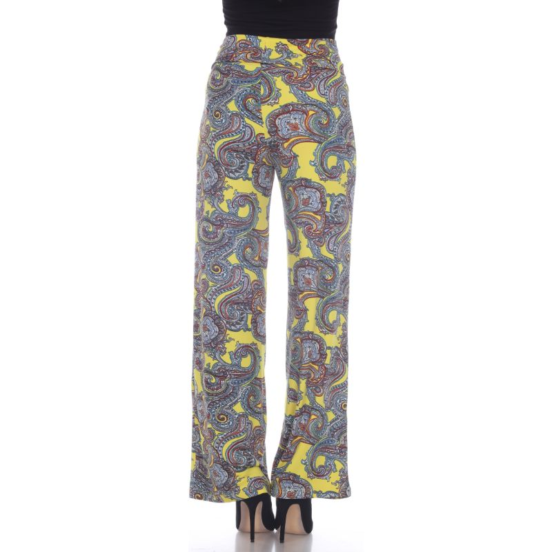 Women's Printed Palazzo Pants - Sunshine Yellow Paisley-Daily Steals