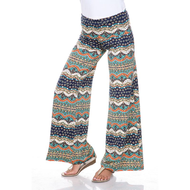 Women's Printed Palazzo Pants - Swimmers Teal & Navy-S-Daily Steals