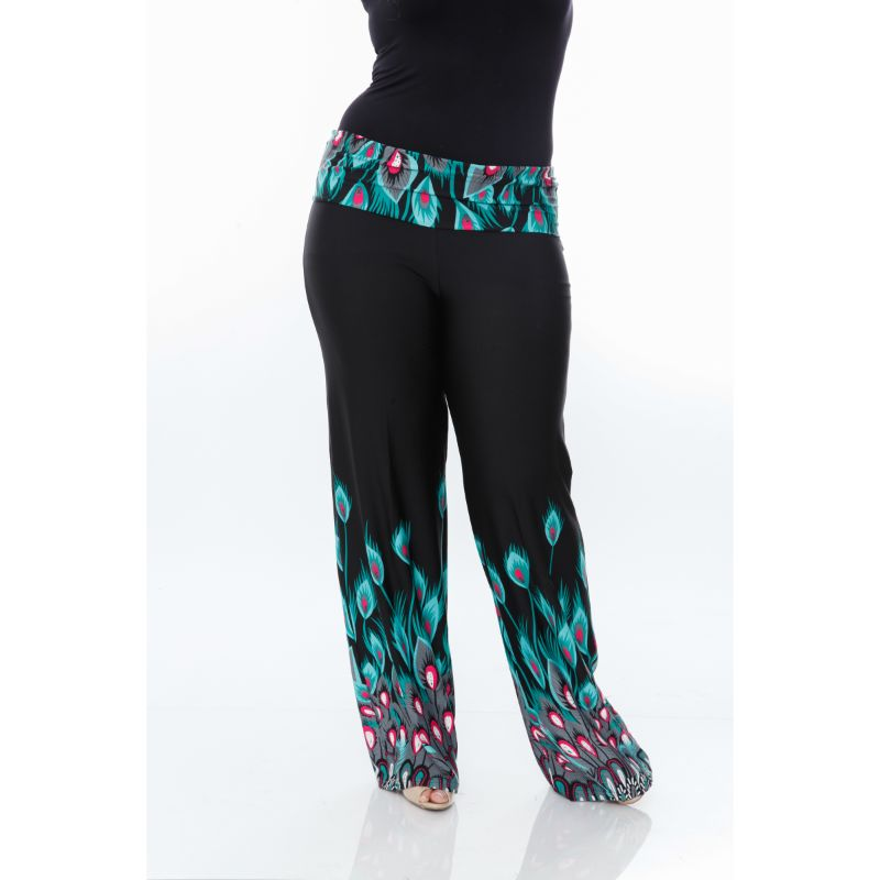 Women's Printed Palazzo Pants - Teal Peacock-XL-Daily Steals