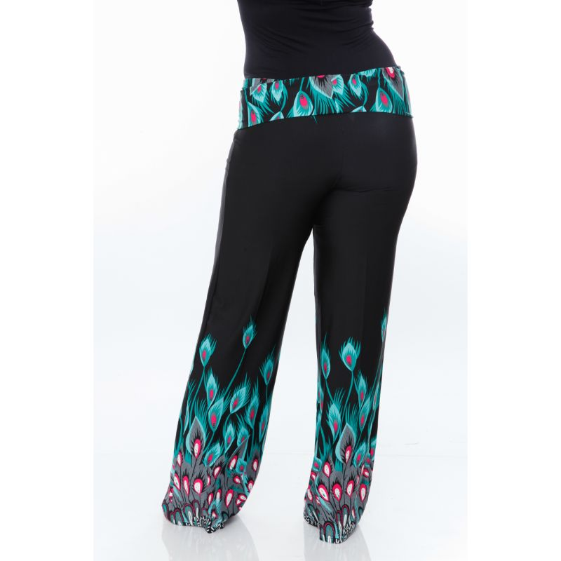 Women's Printed Palazzo Pants - Teal Peacock-Daily Steals